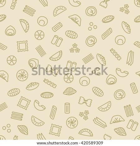 pasta and dumplings seamless pattern - stock vector