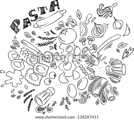 Pasta and ingredients for cooking italian food, black and white sketchy doodle. - stock vector