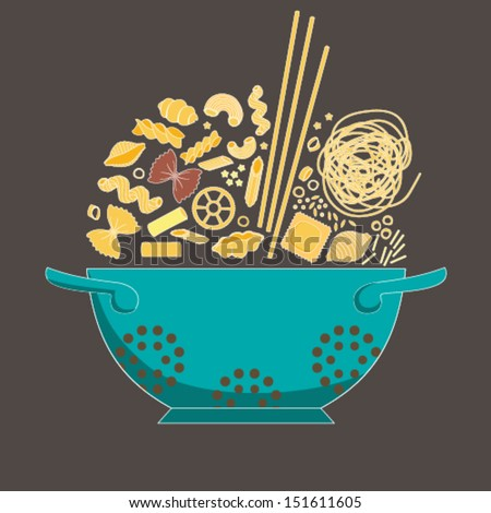 Pasta collection drawings  vector set. - stock vector