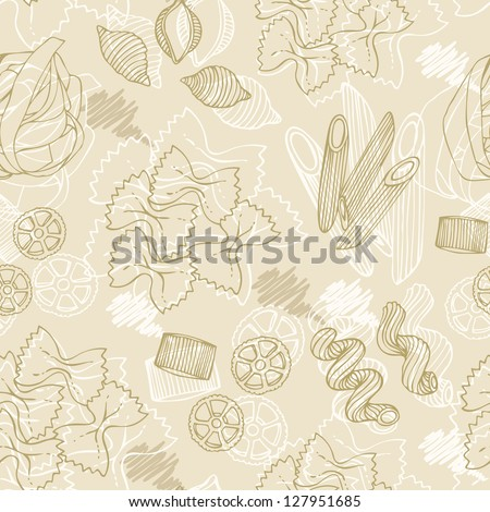 Pasta hand-drawn seamless pattern on a beige background - stock vector