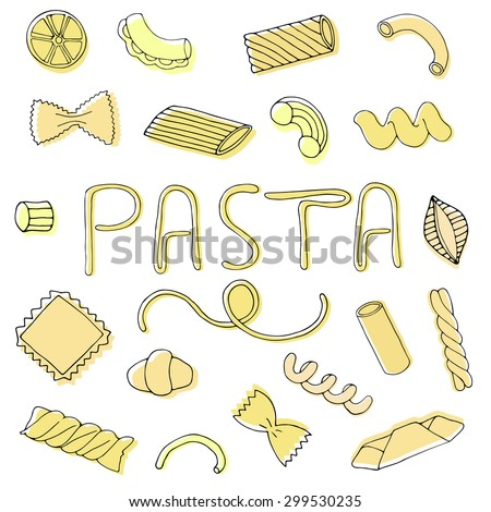 Pasta hand drawn set