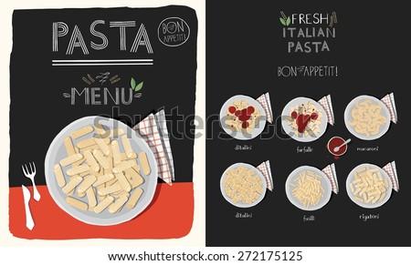 Pasta menu design. - stock vector