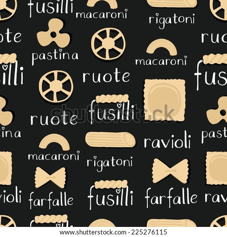 Pasta pattern - stock vector