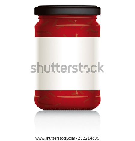 Pasta Sauce Jar, with blank white label, vector visual illustration, Drawn with mesh tool. Fully adjustable & scalable. - stock vector