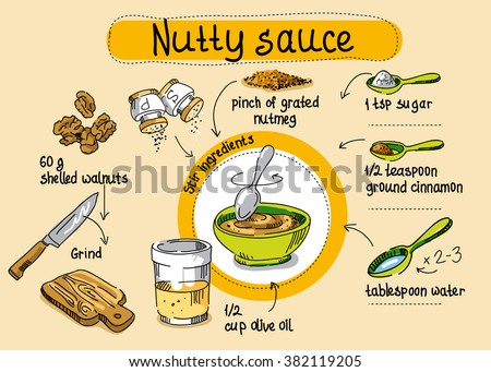 pasta sauce of walnuts, step-by-step cooking, drawing hands, cook at home - stock vector