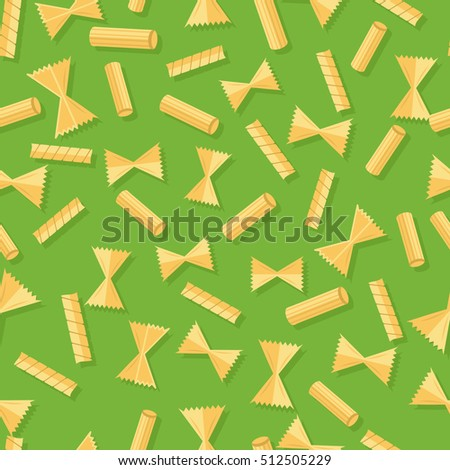 Pasta seamless pattern isolated on white. Staple food of traditional Italian cuisine. Noodle made from unleavened dough formed into sheets. Endless texture with pasta for wallpapers design. Vector