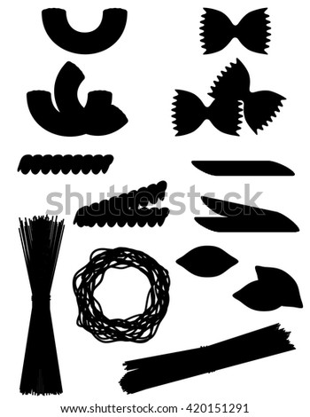 pasta set icons black silhouette outline vector illustration isolated on white background - stock vector