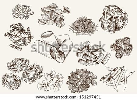 pasta. set of vector sketches - stock vector
