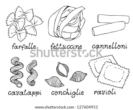 Pasta shapes set on white background - stock vector