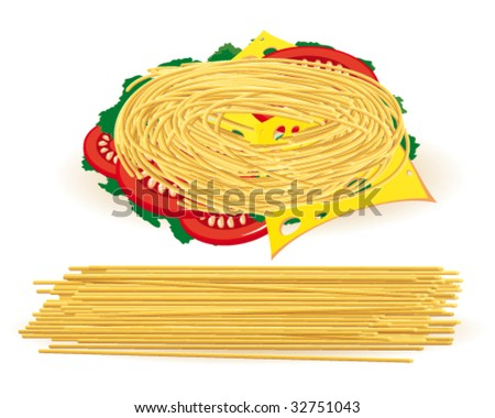 Pasta with tomatoes, cheese and lettuce - stock vector