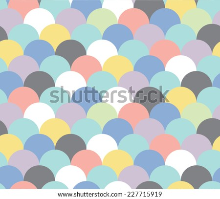 Pastel Abstract Scallop Seamless Repeat Wallpaper - stock vector
