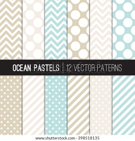 Pastel Aqua Blue, Beige, Tan and White Polka Dots, Chevron and Candy Stripes Patterns. Modern Geometric Backgrounds. Vector EPS File Pattern Swatches made with Global Colors. - stock vector