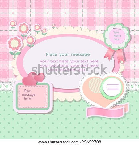 Pastel background with scrapbook elements in retro stile.