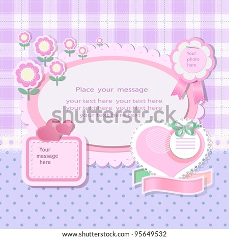 Pastel background with scrapbook elements in vintage stile.