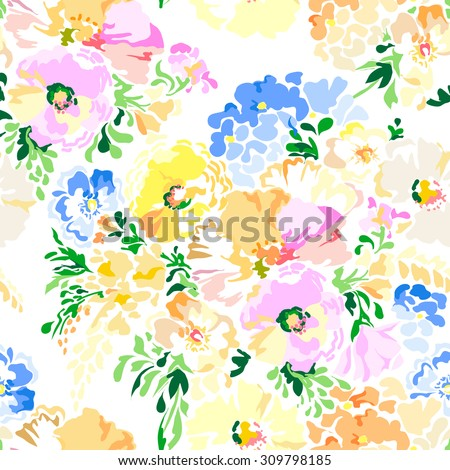 Pastel beautiful floral ~ seamless background - stock vector