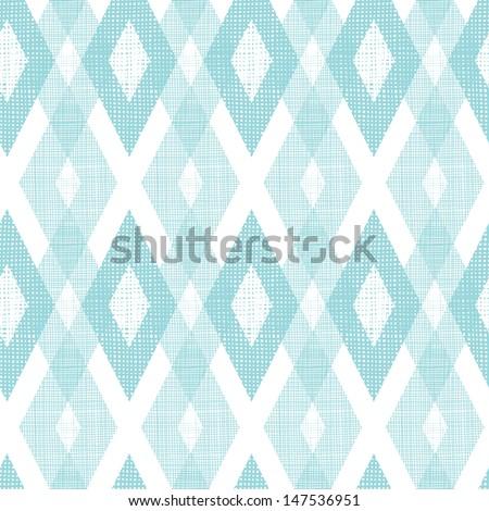 Pastel blue fabric ikat diamond seamless pattern background - stock vector