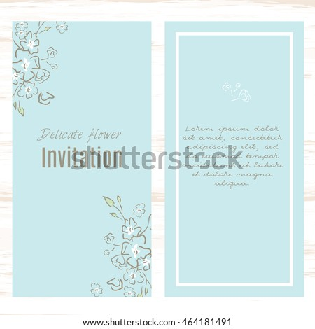 Pastel Blue Greeting Card Template Floral Background. Design Stationery Set  In Vector Format. Wedding  Greeting Card Format