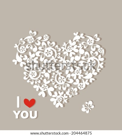 Pastel card with beautiful paper heart - stock vector