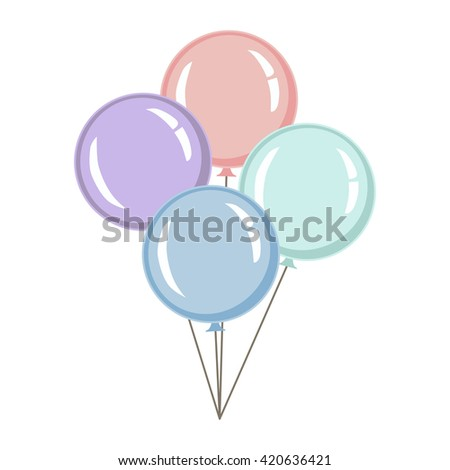 Pastel color balloons. Vector Illustration. Party background - stock vector