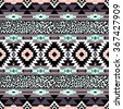 pastel color tribal Navajo seamless pattern with leopard skin texture. aztec abstract geometric vector art print. ethnic hipster backdrop. Wallpaper, cloth design, fabric, paper, wrapping, textile. - stock photo