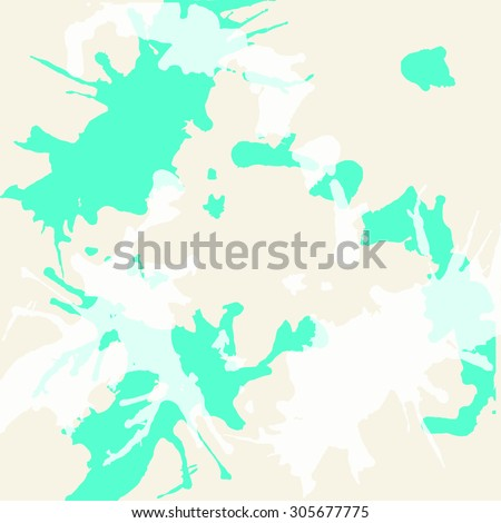 Pastel colored beige and mint green artistic paint splashes, square format. - stock vector