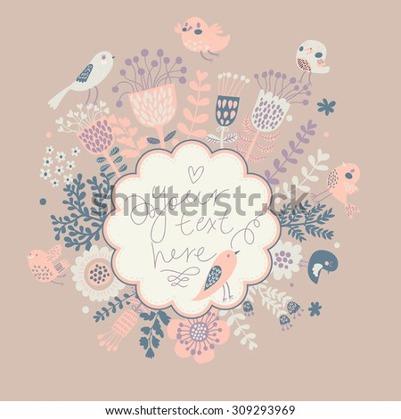 Pastel colored floral card in vector. Vintage wallpaper with cute birds. Ideal for wedding invitation. Save the date card