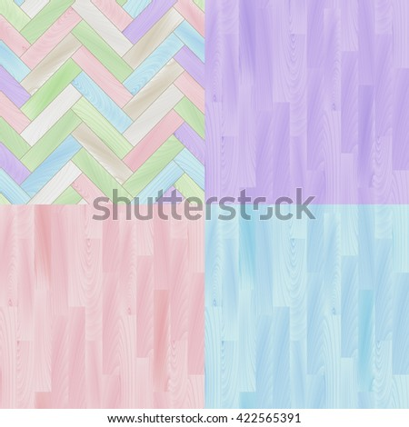 Pastel colored realistic wooden floor parquet seamless patterns set, vector - stock vector