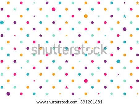 Pastel Colorful Dots White Background Vector Illustration