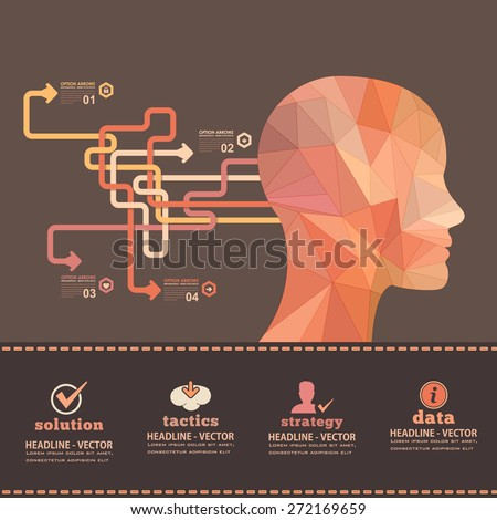 Pastel Colors Geometric Design of Human Head, Business Strategy and Solution Concept Infographics Web Template - stock vector