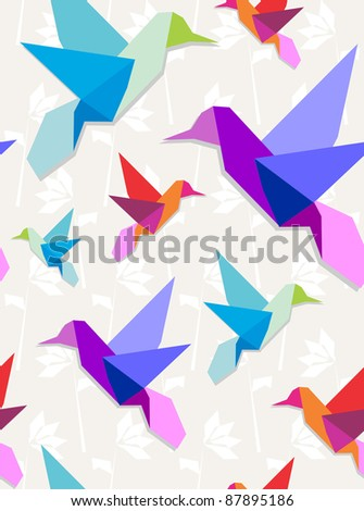 Pastel colors origami hummingbirds seamless pattern background. - stock vector