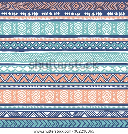 pastel colors tribal Navajo seamless pattern. aztec geometric print. ethnic hipster backdrop. hand drawn  - stock vector