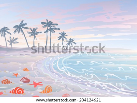 Pastel dream holiday on a beach with sand, waves and seashells   - stock vector
