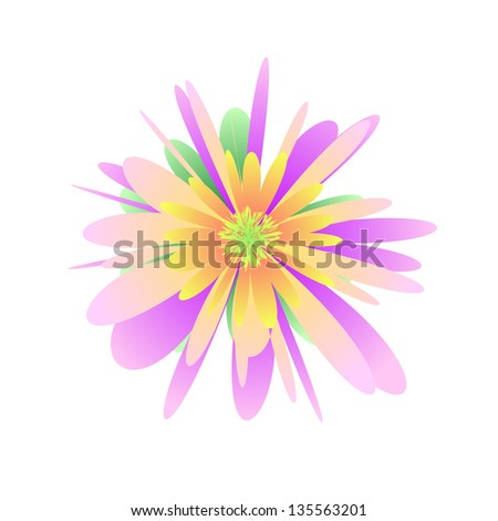 Pastel flower on the white background - stock vector