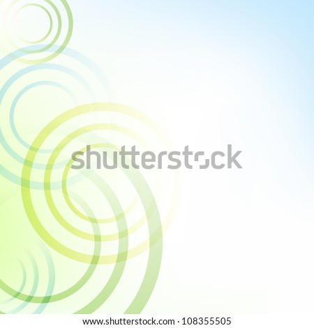 Pastel Green And Blue Background With Circles, Vector Illustration - stock vector