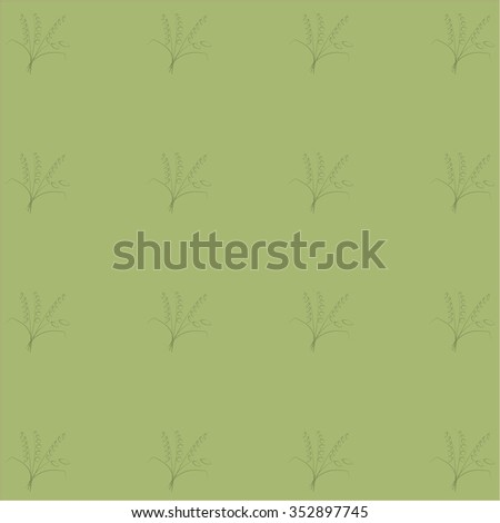 Pastel green background with floral pattern, khaki, bouquets thin lines,. Design element, wrapping paper, wallpaper, vector