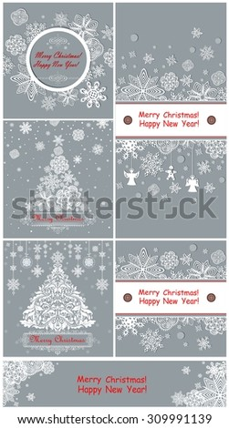 Pastel greetings for winter holidays - stock vector