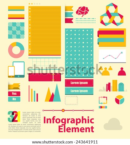 Pastel Infographic element. pretty graphic style. vector illustration - stock vector. - stock vector