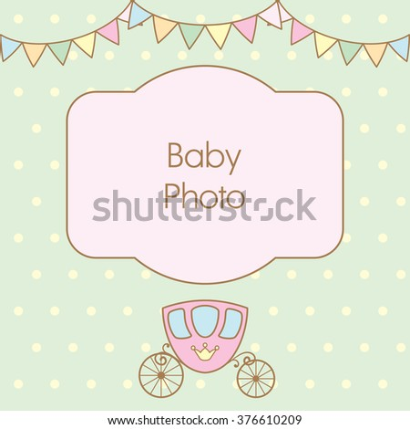 Pastel light green colour retro polka dot background with frame for baby photo, multicolored buntings garlands and carriage. Vector illustration. Can use as baby arrival card or photo frame - stock vector