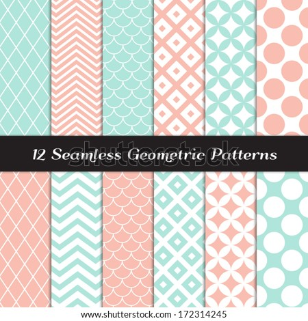 Pastel Mint and Coral Geometric Seamless Patterns. Retro Mod Backgrounds in Jumbo Polka Dot, Diamond Lattice, Scallops, Quatrefoil and Chevron. Pattern Swatches made with Global Colors. - stock vector