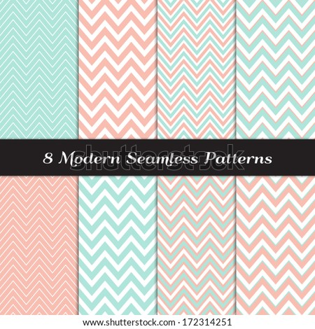 Pastel Mint and Coral Thick and Thin Chevron Seamless Patterns. Soft Color Backgrounds. Pattern Swatches included and made with Global Colors. - stock vector