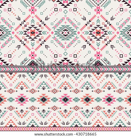 pastel multicolor tribal Navajo vector seamless pattern. aztec fancy abstract geometric art print. ethnic hipster backdrop. Wallpaper, cloth design, fabric, paper, cover, textile, weave, wrapping.  - stock vector