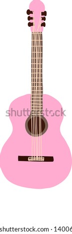 Pastel Pink Guitar - stock vector