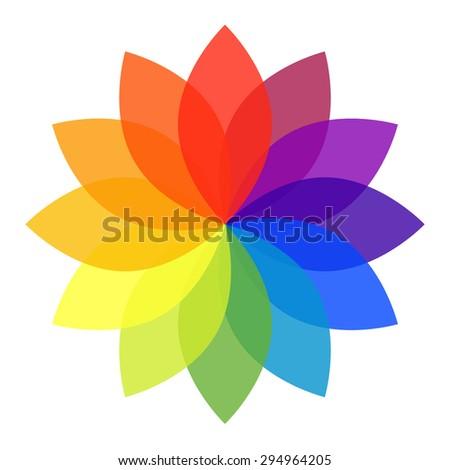 Pastel Rainbow Flower - stock vector