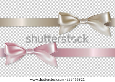 Pastel Ribbons Set, With Gradient Mesh, Vector Illustration