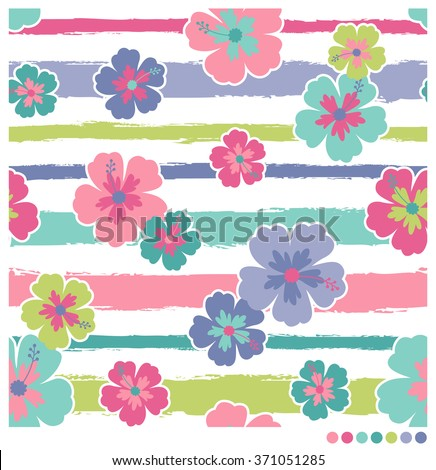 Pastel seamless vector stripes pattern with hibiscus - stock vector