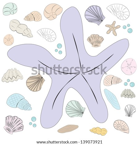 Pastel Seashells Set, Vector Illustration - stock vector