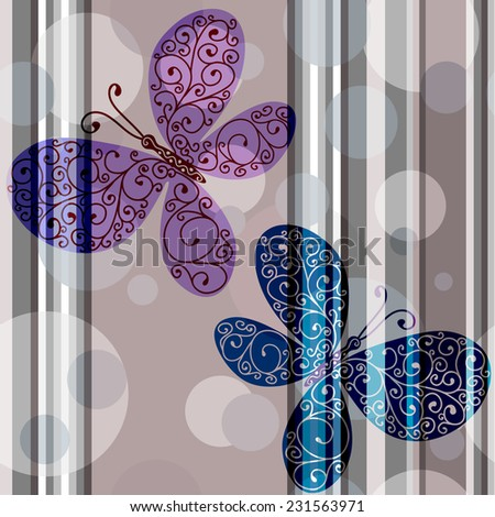 Pastel striped seamless pattern with lace butterflies and translucent balls (vector eps 10) - stock vector