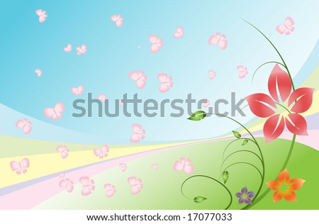pastel summer painting with butterflies and flowers - stock vector