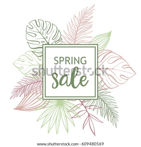 Pastel tropical design with palm leaves. Spring sale. Vector floral template frame on white background.