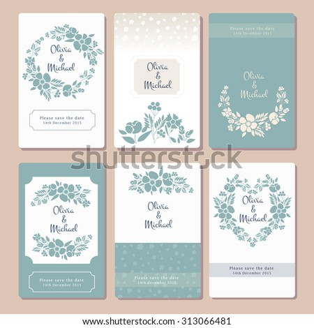 Pastel wedding graphic set with wreaths, herbs, flower bundles, laurels and labels. Invitation card template with flower motives. Save the date, Valentine's Day card, postcard, logotype template - stock vector